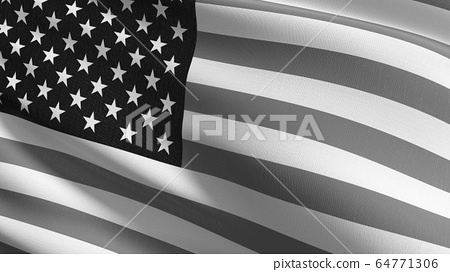 United States of America national flag blowing in 64771306
