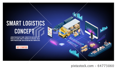 Modern flat design isometric concept of Smart Logistics with global logistics partnership for website and mobile website.  Easy to edit and customize. Vector illustration 64773860