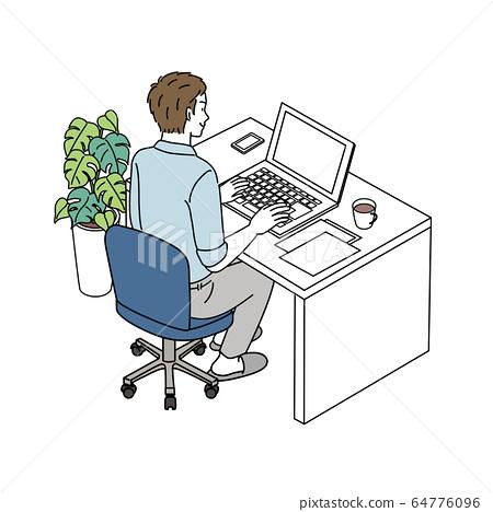 對個人計算機的男性插圖遠程辦公遠程工作 64776096