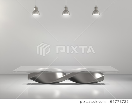 Pedestal for display, product showcase, Blank product stand in Empty room with lamps. 3D rendering. 64778723