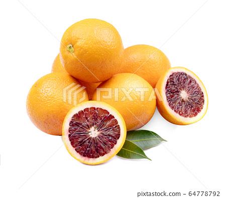 red blood orange slice, isolated on white 64778792