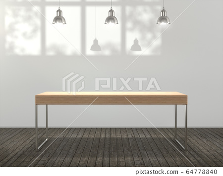 Wooden pedestal for display,Blank product stand in Empty room with lamps and  window shadow, Tree shadow on the wall .3D rendering. 64778840