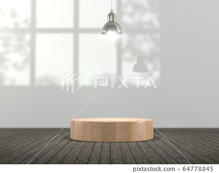 Wooden pedestal for display,Blank product stand in Empty room with lamps and  window shadow, Tree shadow on the wall .3D rendering. 64778845
