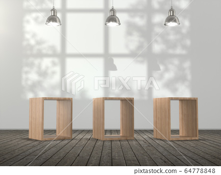Wooden pedestal for display,Blank product stand in Empty room with lamps and  window shadow, Tree shadow on the wall .3D rendering. 64778848