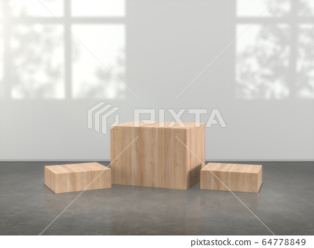 Wooden pedestal for display,Blank product stand in Empty room with lamps and  window shadow, Tree shadow on the wall .3D rendering. 64778849