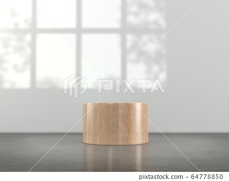 Wooden pedestal for display,Blank product stand in Empty room with lamps and  window shadow, Tree shadow on the wall .3D rendering. 64778850