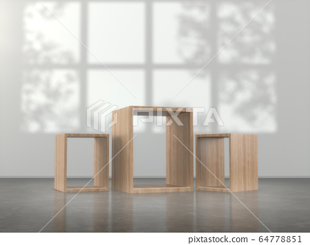 Wooden pedestal for display,Blank product stand in Empty room with lamps and  window shadow, Tree shadow on the wall .3D rendering. 64778851
