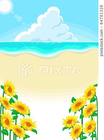 海和向日葵夏天背景 64781326