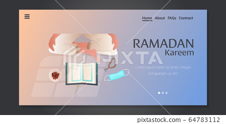 religious muslim character praying ramadan kareem holy month religion concept horizontal 64783112