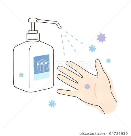 Alcohol disinfection virus and right hand 64783939