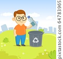 Friendly boy in big eyeglasses throwing plastic bottle in recycle bin on city and blue sky background. Vector cartoon flat illustration. 64783965