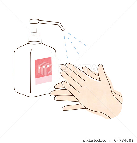 Alcohol disinfection both hands 64784082