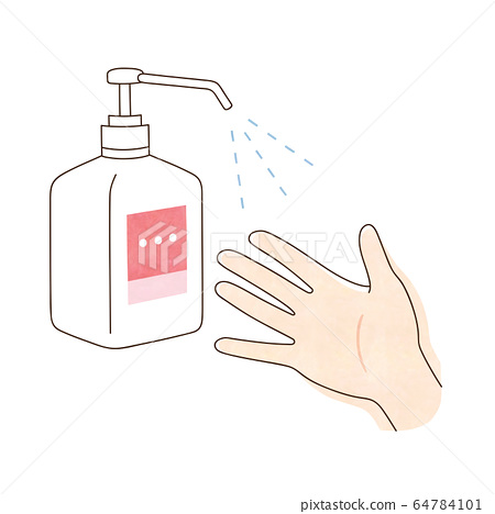 Alcohol disinfection right hand 64784101