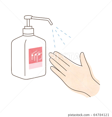 Alcohol disinfection left hand 64784121