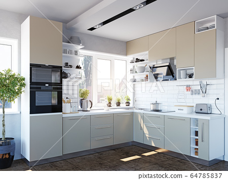 modern kitchen interior 64785837