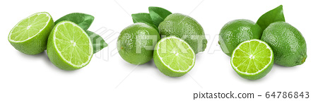 lime with half and leaf isolated on white background. Set or collection 64786843