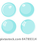 Flat vector Flying bubbles of soap suds. Underwater gas flow in water. 64789314