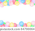 Horizontal frame of colorful water yo-yos 64790064