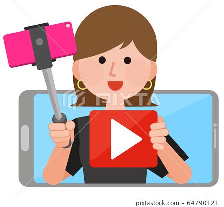 Youtuber視頻分配器女性智能手機圖 64790121