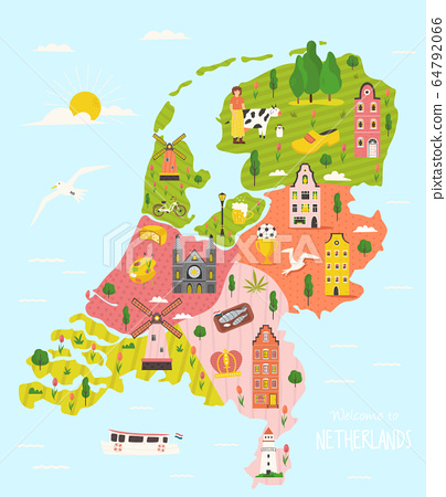 Illustrated map of Netherlands with famous symbols 64792066