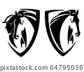 horse and jockey in shield emblem black vector design set 64795036
