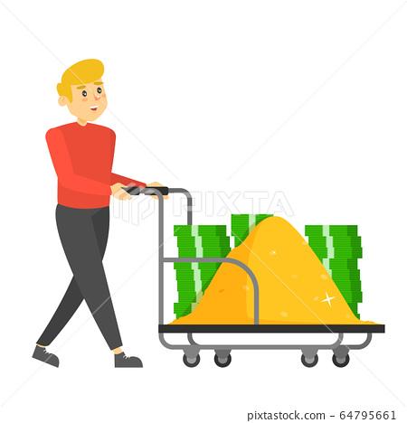 Rich man carrying hand truck full of money 64795661