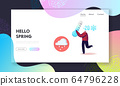 Freezing Springtime Landing Page Template. Happy Cheerful Man Character Holding Huge Thermometer Show Minus Twenty Degrees and Falling Snowflakes. Cold Spring Time Season. Cartoon Vector Illustration 64796228