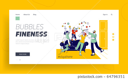 Stay Home Concept with Mom, Dad Dog and Children Landing Page Template. Happy Family Characters Parents and Kids Blowing Soap Bubbles at Covid19 Quarantine Isolation. Linear People Vector Illustration 64796351