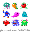 Cute Cartoon Monsters Set. Comic Halloween Joyful Characters, Funny Devil, Ugly Alien and Smile Creatures Isolated on White Background. Mutants, Germs and Bacteria. Cartoon Vector Illustration 64796370