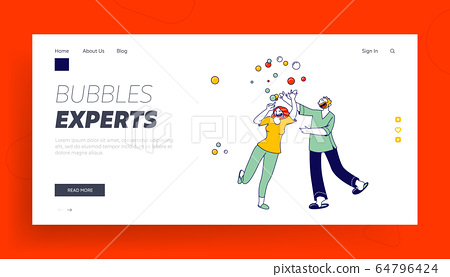 Quarantine Spare Time Landing Page Template. Happy Characters Blow Soap Bubbles. Funny People Playing, Fooling and Having Fun Together. Married Couple Recreation, Party, Linear Vector Illustration