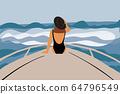 Woman swimming on a yacht 64796549
