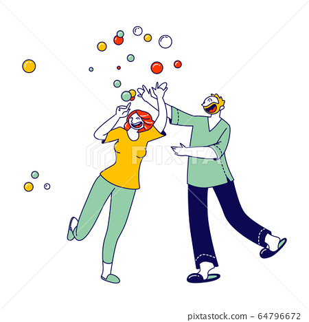 Happy Male and Female Characters Blow Soap Bubbles Playing, Fooling and Having Fun Together. Married Couple Recreation, Party, Funny People. or Quarantine Spare Time. Linear Vector Illustration