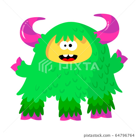 Funny Fluffy Monster With Bright Green Fur And Stock Illustration 64796764 Pixta