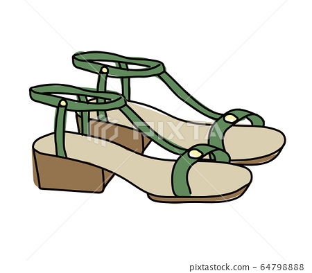 Hand-drawn illustrations of sandals / Simple / Shoes 64798888