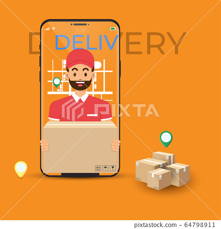 Online delivery service and order tracking with 64798911