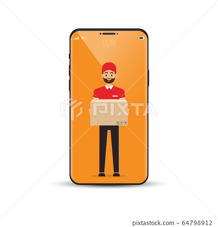 Delivery man standing with holding packed. vector 64798912