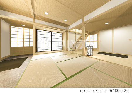 Empty big room Japanese tropical style. 3D 64800420