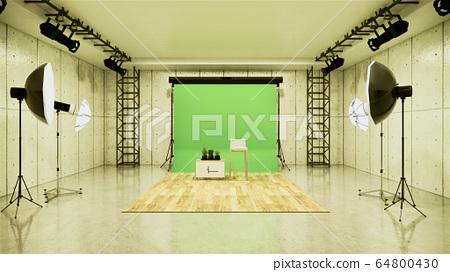 Studio - Modern Film Studio with white Screen. 3D 64800430