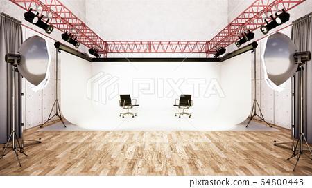 Studio - Modern Film Studio with white Screen. 3D 64800443