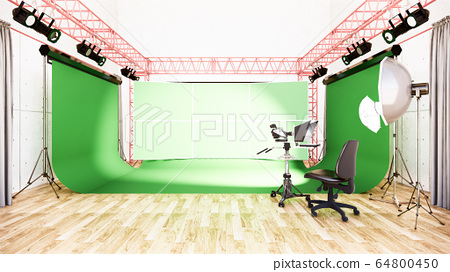Studio - Modern Film Studio with white Screen. 3D 64800450