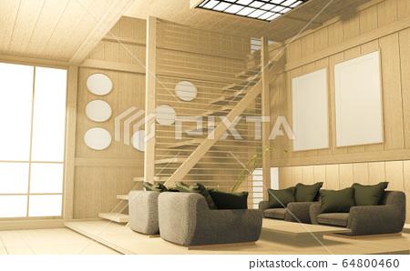 Tropical interior design with sofa for living room 64800460
