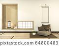 armchair on indoor empty room japan style. 3D 64800483