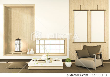 low table and pillow interior mock up Chinese 64800484