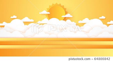 Summer Time, Cloudscape, cloudy sky with bright sun, paper art style 64800842