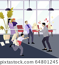 Angry boss shouting at employees. man stressfull 64801245