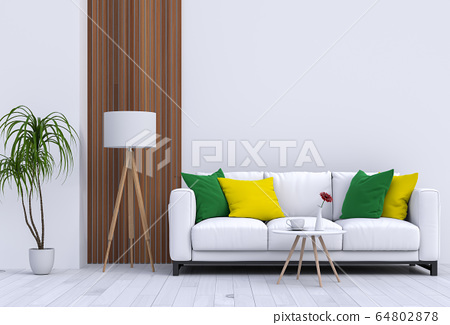 interior modern living room with sofa,  plant, lamp, decoration, 3D render 64802878