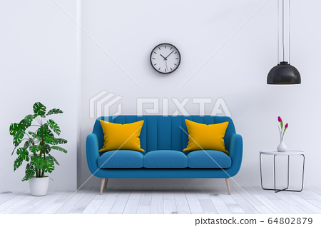 interior modern living room with sofa,  plant, lamp, decoration, 3D render 64802879
