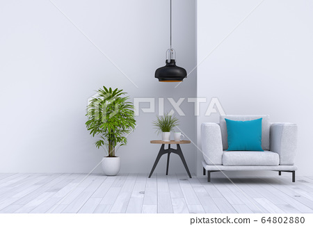 interior modern living room with sofa,  plant, lamp, decoration, 3D render 64802880