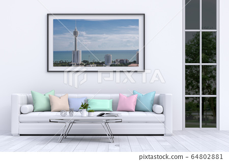 interior modern living room with sofa,  plant, lamp, decoration, 3D render 64802881