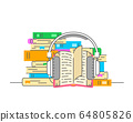Audiobook and headphones vector flat illustration 64805826